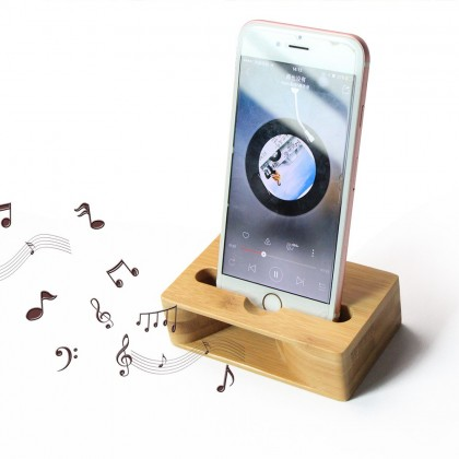 2 in 1 Bamboo Amplifier Speaker Dock Stylish Home Office For Smart Phone, Natural & Eco Friendly