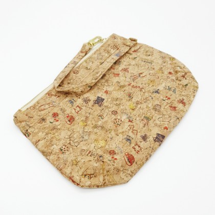 Cork Round Pouch Bag Wristlet Handmade Eco-Friendly & Sustainable Materials