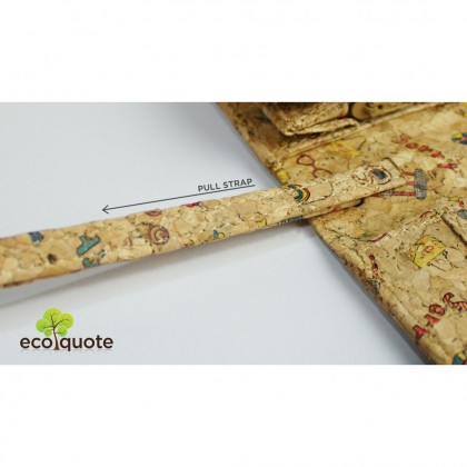 Cork Long Wallet Round Side Strap Button Handmade Fabric Eco-Friendly Materials