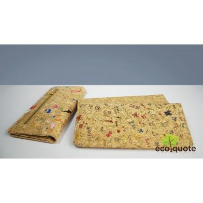 Cork Long Wallet Back Zip Handmade Eco-Friendly Materials For Vegan & Sustainable