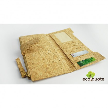 Cork Long Wallet Handmade Eco-Friendly & Sustainable Material, Great For Vegan