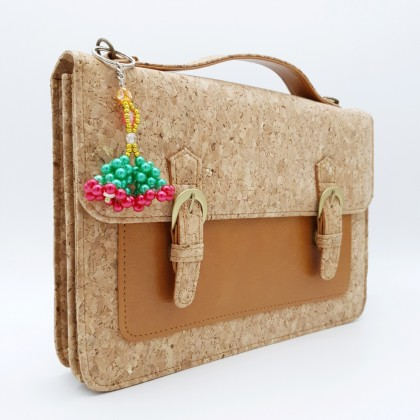 Cork Sylish Crossbody 2 Button Hand Bag Sling Strap Handmade Eco-Friendly & Sustainable Material