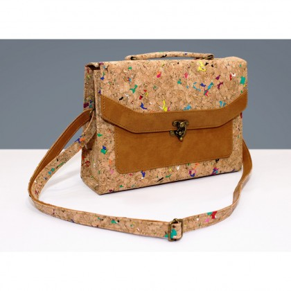Cork Sylish Crossbody 1 Button Hand Bag Sling Strap Eco-Friendly & Sustainable Material