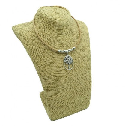 Life of Tree Natural Cork Necklace with Sliver Tube Women Original Cork Jewelry