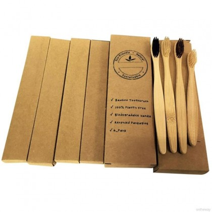 Bamboo Toothbrush Family Set Biodegradable Natural  Eco-Friendly & Sustainable by EcoQuote