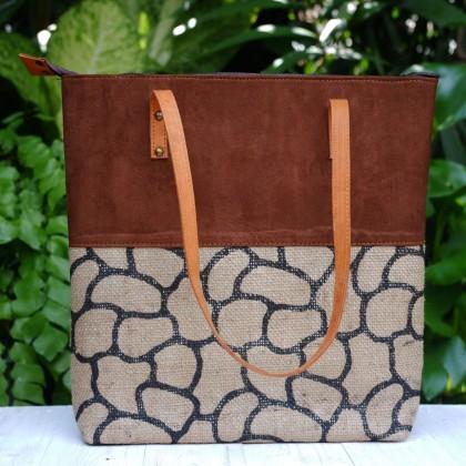 Jute Tote Shopping Bag Handmade From Reuse Coffee Beans Jute Fabric