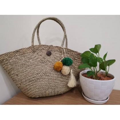 Natural Mendong Grass Straw Shopping Bag Oval Handmade Eco-Friendly