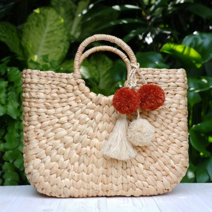 Shopping Bag Stylish Handmade Quilted Water Hyacinth Fiber Eco-Friendly Sustainable