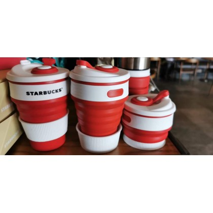 Starbucks Official Limited Edition Red Silicone Collapsible Cup & Reusable ~ An End One Time Use
