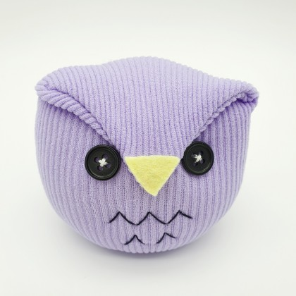 Sock Doll Owl & Doggy Handmade Home Office Sustainable Soft Cotton Stuffed, Very Cute Eco-Friendly