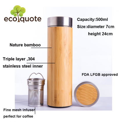 Natural Bamboo Vacuum Thermo Flask Tumbler Triple-Layer Stainless Steel 304 Liner
