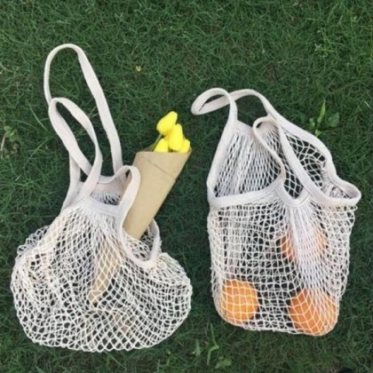 Mesh Shopping Bag Pack of 2 Heavy Duty Natural Organic Cotton Biogradable, Eco-Friendly & Sustainable