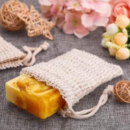 Pack of 5 Natural Sisal Soap Bag Pouch Exfoliating Zero Waste, Biodegradable & Eco-Friendly