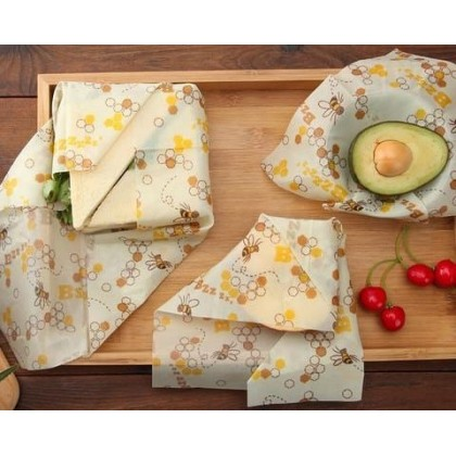 Beeswax Wraps Pack of 3 Store Foods FDA Cerified Naturally & Eco-Friendly