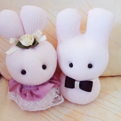 Cute Ayumi Wedding Sock Dolls Mr. & Mrs. -To be- Handmade Sustainable Soft Cotton Stuffed Eco-Friendly Unique