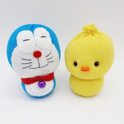 Cute Sock Dolls Egg Ducky, Doremon Handmade Soft Cotton Stuffed Sustainable & Eco-Friendly