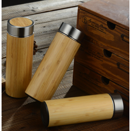 Bamboo Vacuum Thermo Flask Tumbler 400ml Natural Double-Layer Stainless Steel 304 Liner