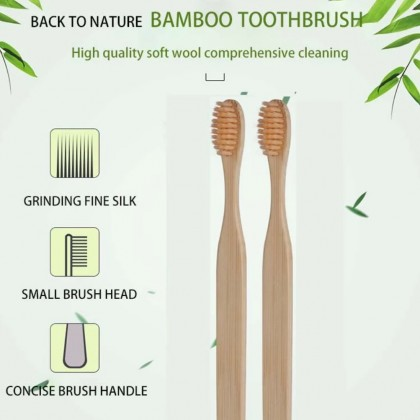 Kid's Bamboo Toothbrush Charcoal Infused Pack of 5 For Children, Reusable Eco-Friendly, Organic & Sustainable