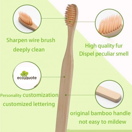 Kid's Bamboo Toothbrush Charcoal Infused Twin Pack of 2 For Children, Reusable Eco-Friendly, Organic & Sustainable