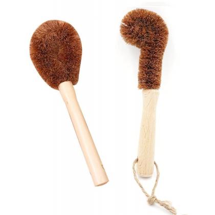 Coconut Pot & Water Bottle Brush Set Coir Fiber, Bowl, Bottle or Pan Kitchen Wash Long Hand Non-Stick Eco-Friendly