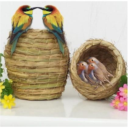 Bird Nest Small Handmade Grass Straw Pet Pigeon Parrot Natural Straw Grass House Cage