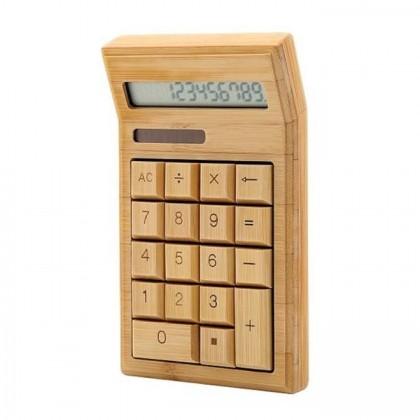 Bamboo Electronic Calculator Dual Power Solar & Battery 12 Digi Eco-friendly