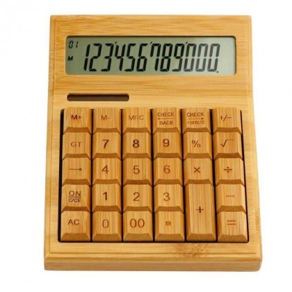 Bamboo Calculator Electronic Multifunctional Dual Power Solar & Battery 12 Digi Eco-friendly