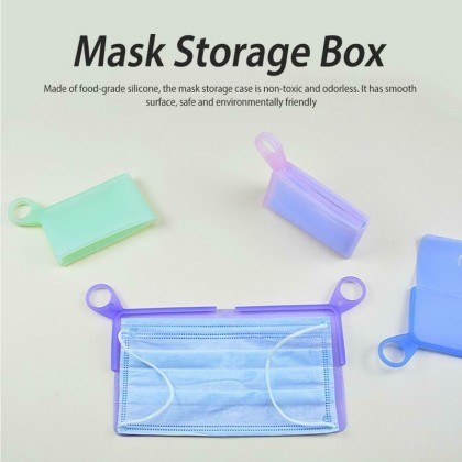Face Mask Portable Storage With Clips Food Grade Silicone Reusable Moisture & Dust Proof Holder Organizer Case