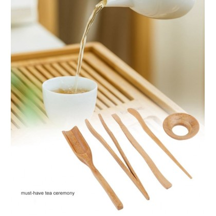 Bamboo Chinese Tea Set of 5 Natural Teaspoon Tea Clip, Tea Needle, Tea Clip, Tea Shovel, Tea Scoop & Rest
