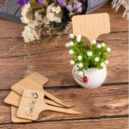 Bamboo Gardening Tag Labels 50Pcs Eco-Friendly T Plant Sign Tags Garden Markers Herbs Flowers Vegetables
