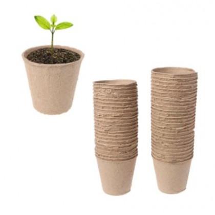 Paper Pulp Pot Plant Nursery Cup 50-Pcs Organic Vegetable Fruit Seedling Raising Cultivation Starter Eco-Friendly
