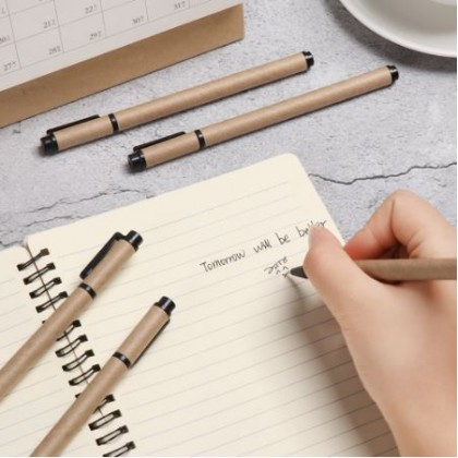 Kraft Paper Ball Pen Black Pack of 5 Office Stationery Writing Pen Eco-Friendly