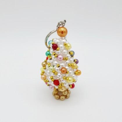 White Christmas Tree Beaded 3D Keychain Charm Handmade Craft Christmas Series