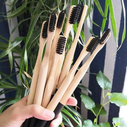Bamboo Toothbrush Set With Bamboo Case Handmade Reusable & Eco-Friendly