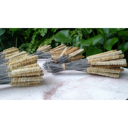 Bamboo Big Straw Set With Sisal Straw Brush With Bamboo Case Handmade Reusable & Eco-Friendly