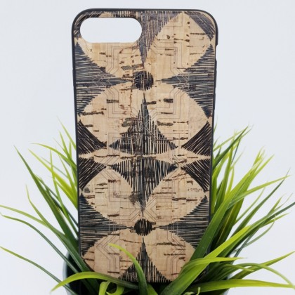 iPhone 7 Plus 8 Plus 7+ 8+ Cork Phone Case Soft Flexible TPU Windmill Pattern Eco-Friendly
