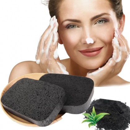 Bamboo Charcoal Facial Sponge Soft Natural Beauty For Face Cleaning or Makeup Cosmetic
