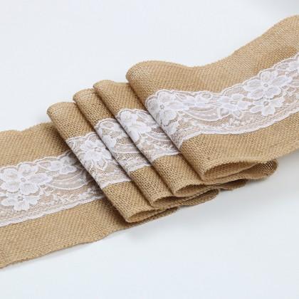 Natural Jute Burlap Ribbon 1M 5cm Vintage Wedding Festival Decor Hessian Lace Merry Christmas Party DIY