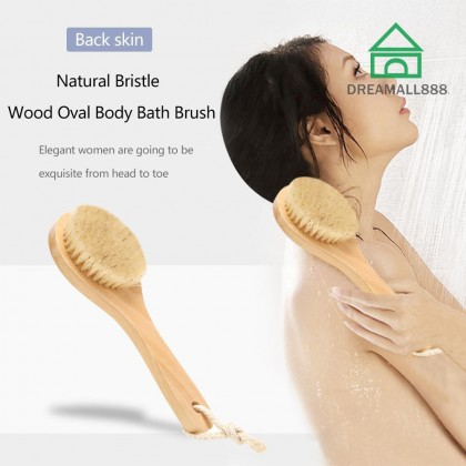 Bamboo Body Bath Oval Brush With Handle & Rope For Dry Skin Natural Bamboo Soft Bristles Spa Massager