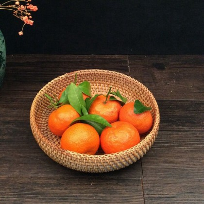 Handmade Bamboo Rattan Fruit Basket Round Multi-Purpose for Kitchen Food Picnic Bread Sundry Container