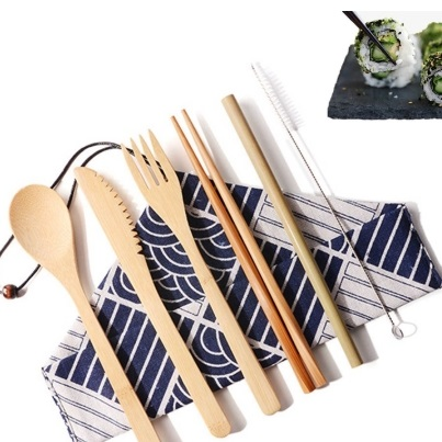 Bamboo Cutlery Set Kitchen Utensil With Cloth Bag Eco-friendly Travel Reusable Portable
