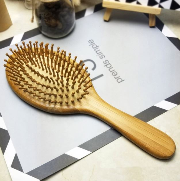 Natural Bamboo Hair Brush Comb | Eco Friendly Zero Waste Organic Natural Air Cushion Detangling Healthy & Growing Hair