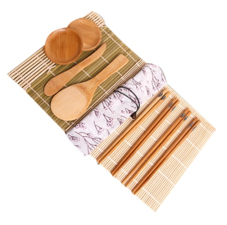Bamboo Sushi Making Cooking Rolling Set 11pcs Tools Roller Preparation, Eco-Friendly