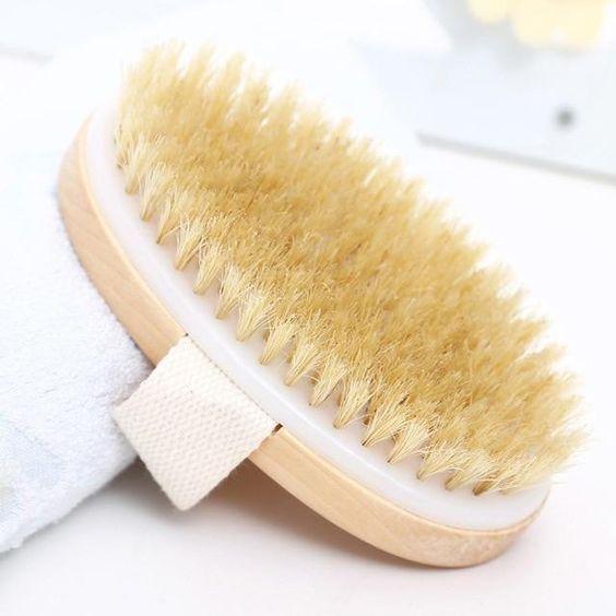 Bamboo Body Bath Brush Slide In For Dry Skin Natural Bamboo Soft Bristles Spa Massager